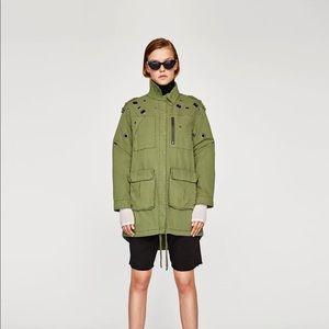 Brand new Zara olive green parka size S